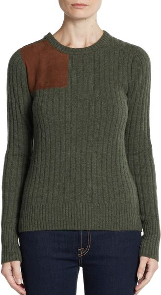 Autumn Cashmere Cashmere Suede Patch Sweater - Lyst