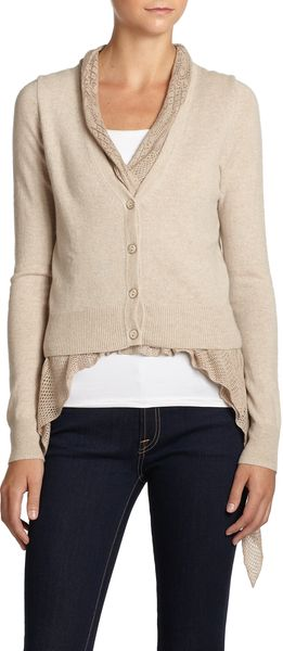 Autumn Cashmere V Neck Layered Cashmere Cardigan - Lyst