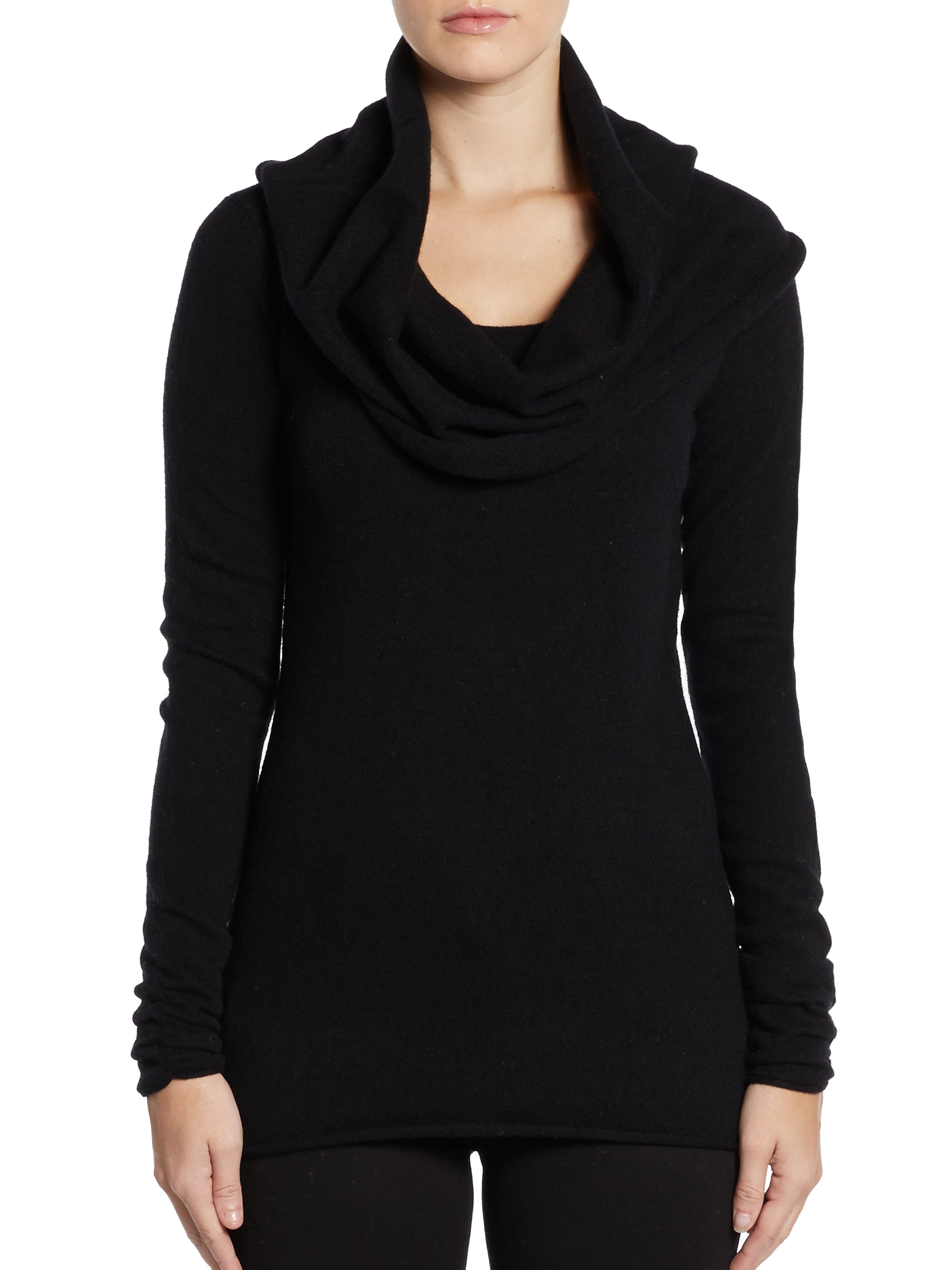 Saks fifth avenue black label Cashmere Cowl Neck Sweater in Black ...
