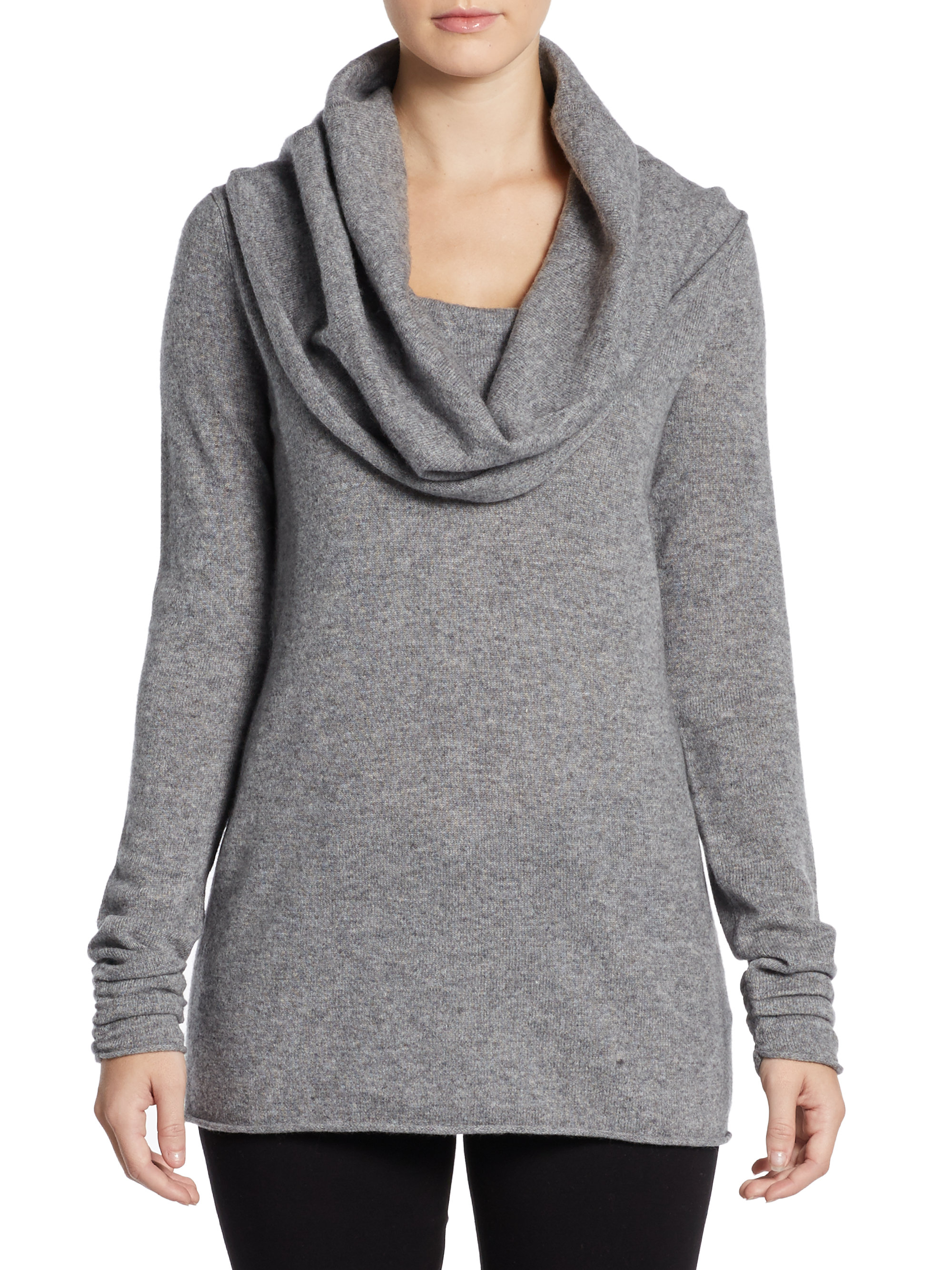 Saks fifth avenue black Cashmere Cowl Neck Sweater in Gray | Lyst