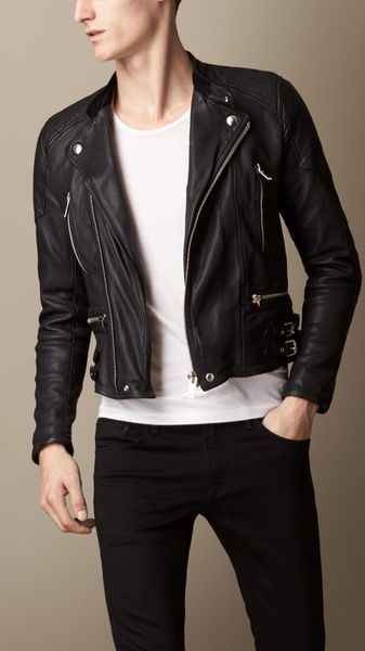 Burberry Washed Leather Biker Jacket - Lyst
