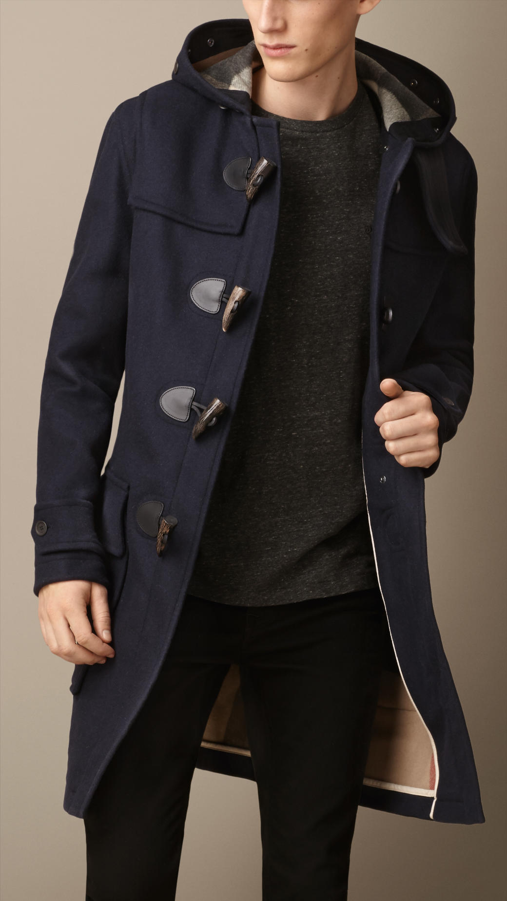 Burberry Double Faced Wool Duffle Coat with Shearling Lining in ...