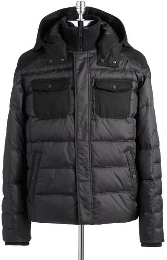 Calvin Klein Mixed Media Puffer Coat - Lyst