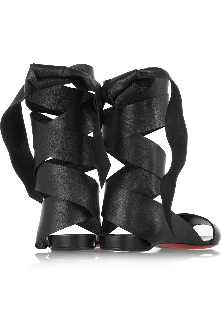 replica shoes christian louboutin - christian louboutin leather wrap-around sandals, mens black ...