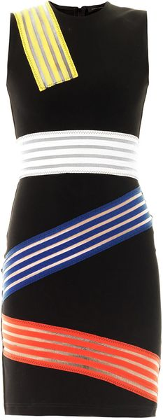 Christopher Kane Colour Block Multi Stripe Dress - Lyst