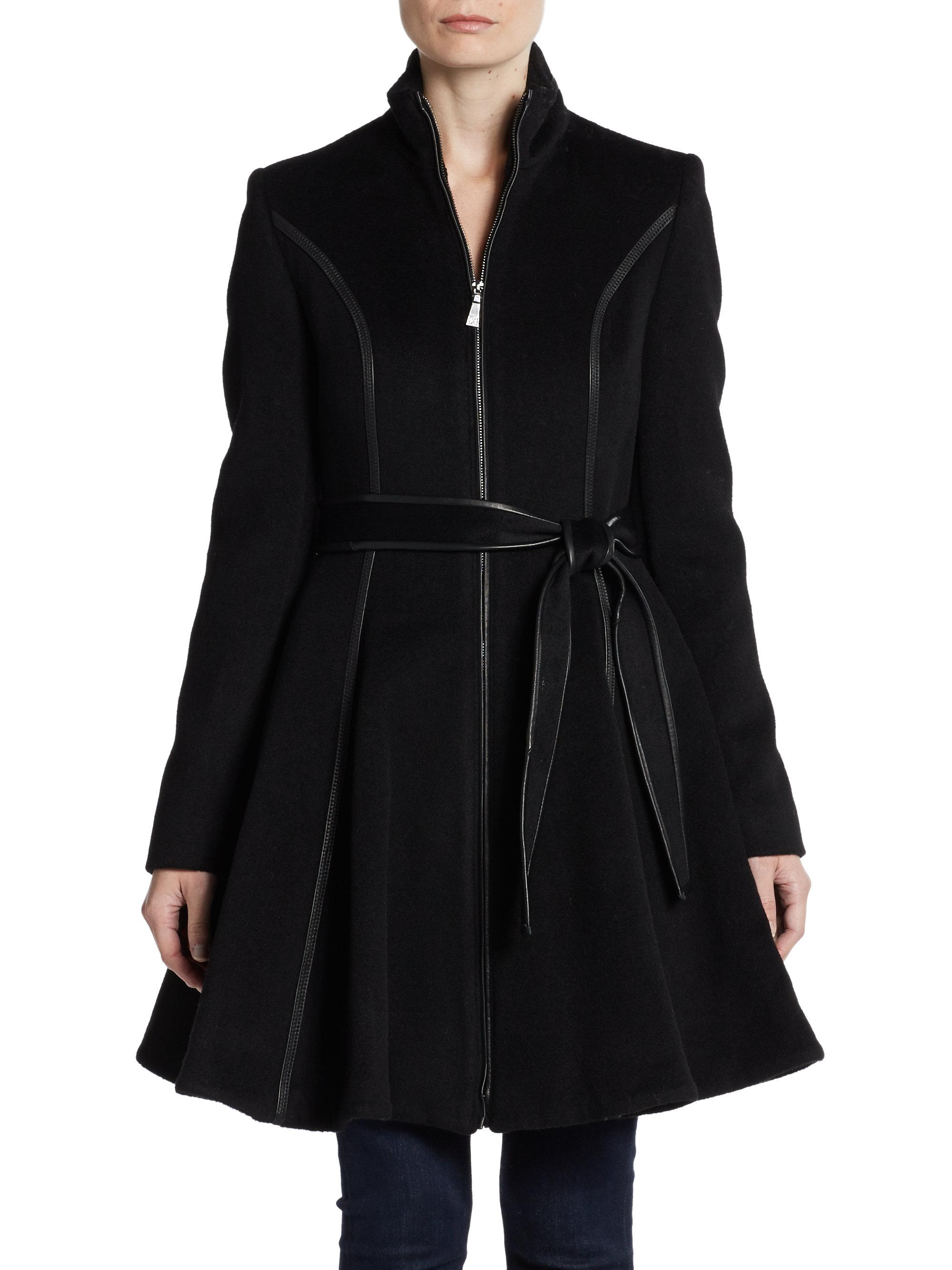 Dawn Levy Belted Wool Swing Coat In Black Lyst