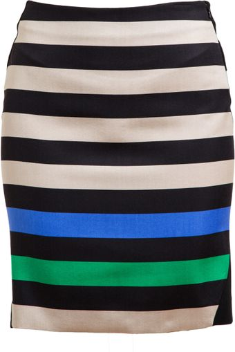 Diane Von Furstenberg Mae Mikado Striped Woolsilk Mini-skirt - Lyst