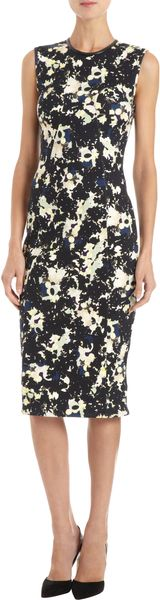 Erdem Fitted Multicolored Silhouette Print Dress - Lyst