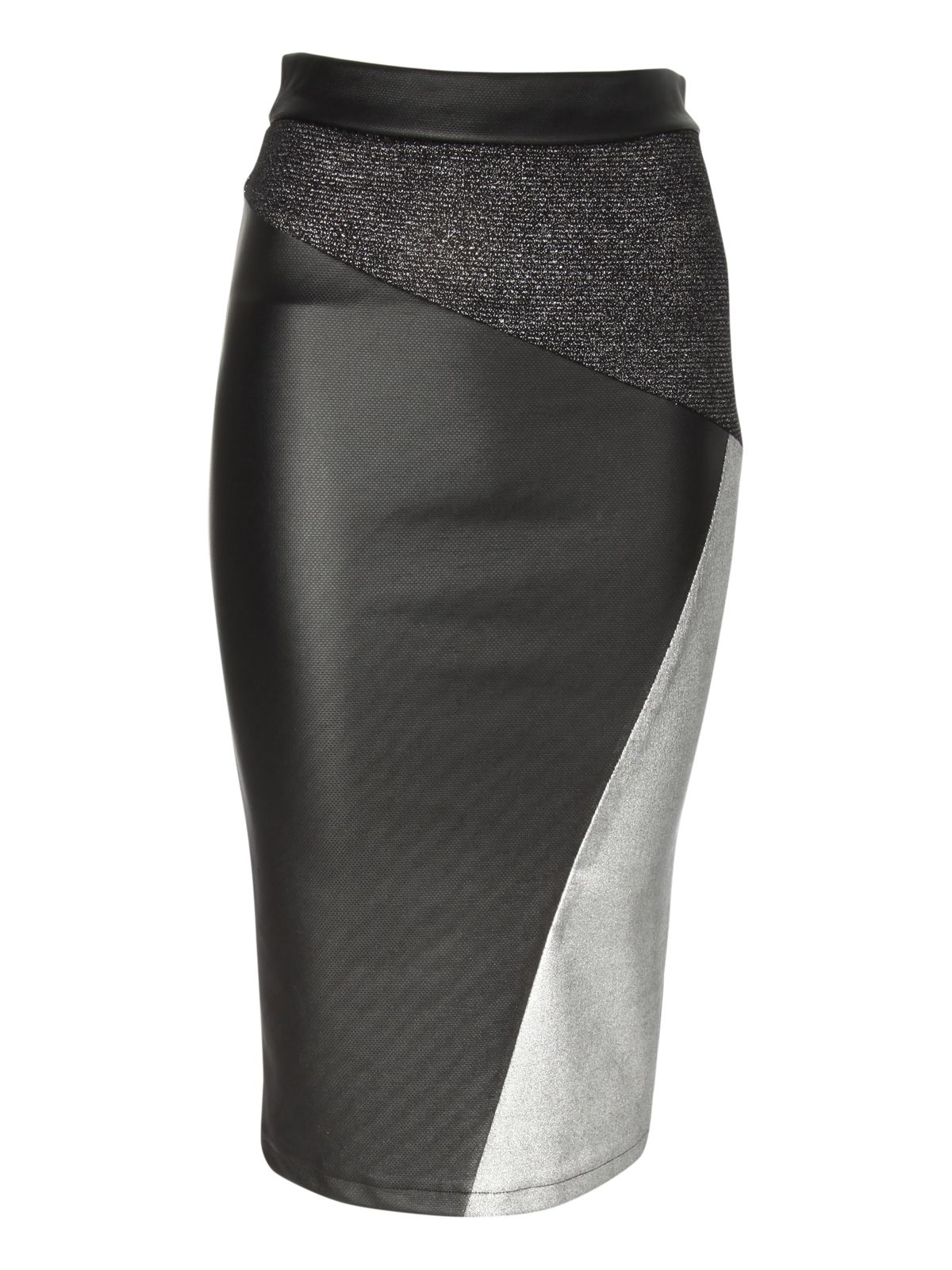 norman metallic cut about pencil skirt in black