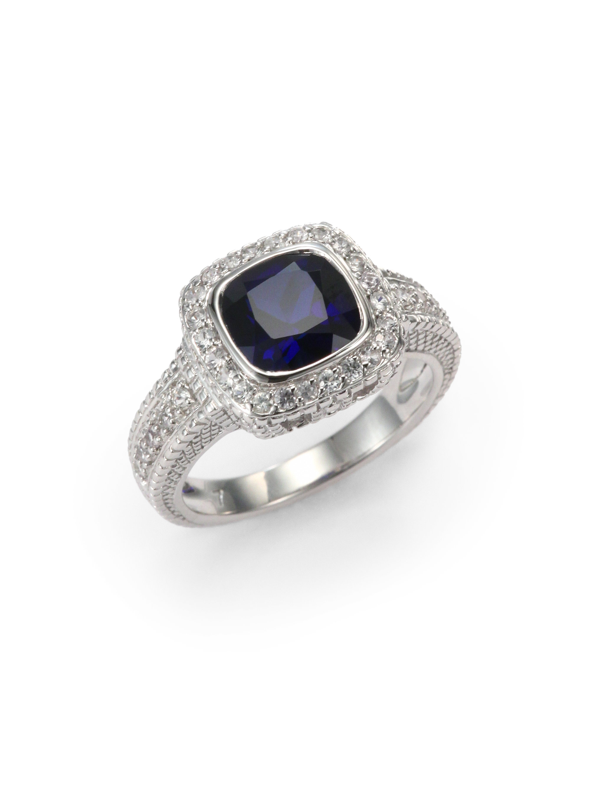 cushion product cut jewelry lyst judith corundum rings blue gallery in ripka normal ring