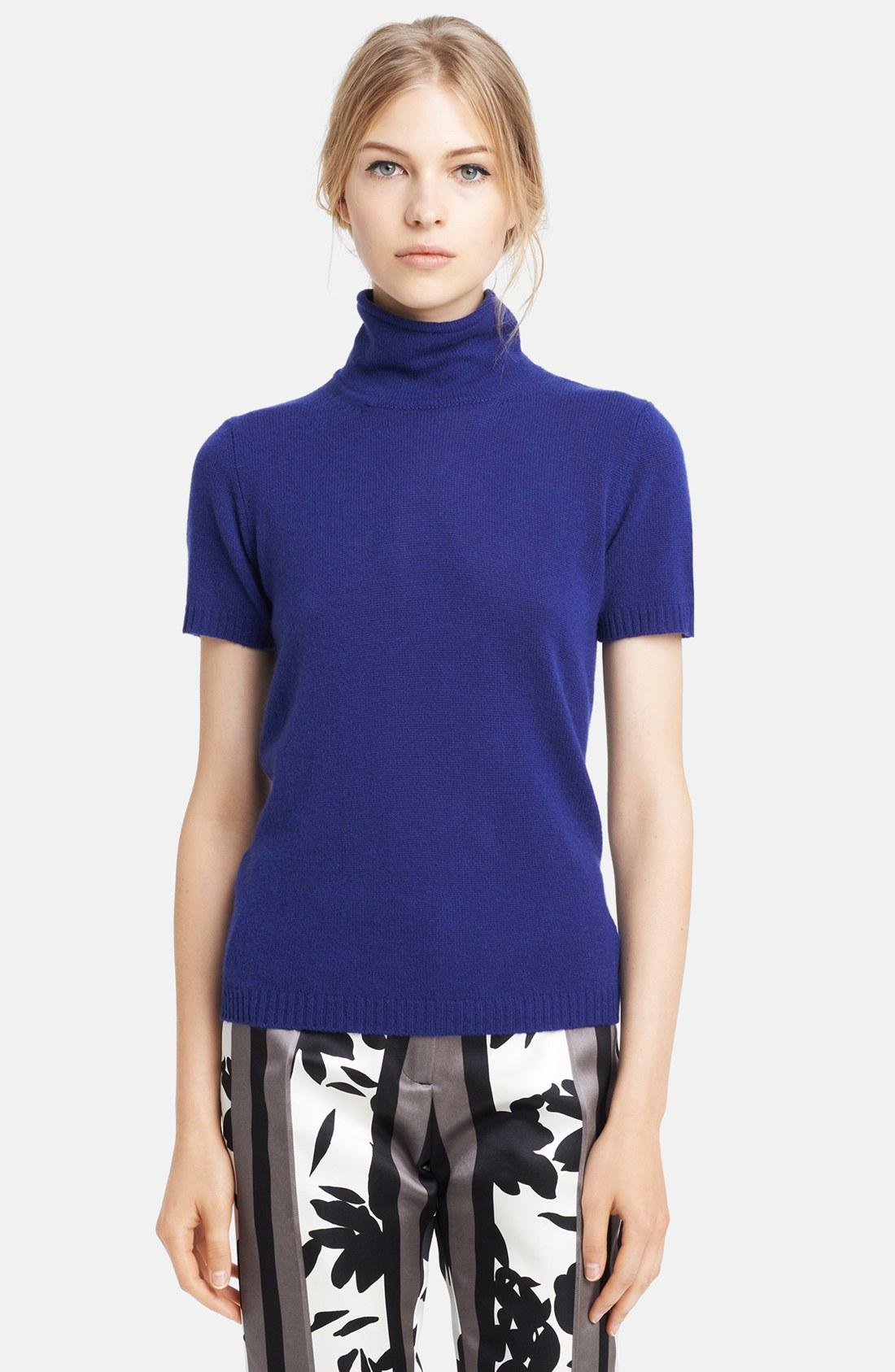 Marni Short Sleeve Cashmere Turtleneck In Blue Ocean Lyst