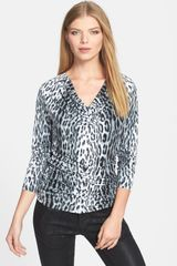 Michael by Michael Kors Print Cowl Neck Ruched Top - Lyst