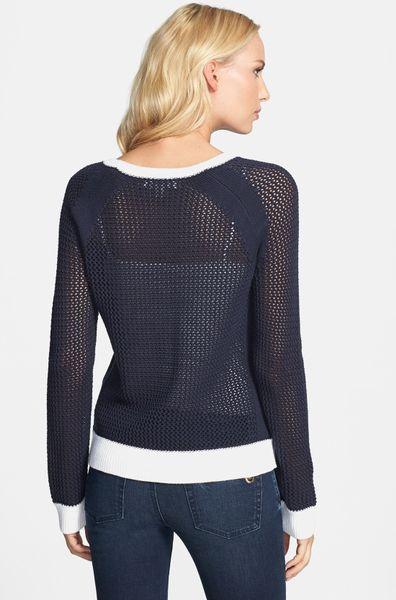 Michael Michael Kors Colorblock Cotton Blend Mesh Sweater In Blue Navy Lyst