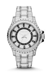 Michael Kors Midsize Gray Stainless Steel Glam Everest Threehand Glitz Watch - Lyst
