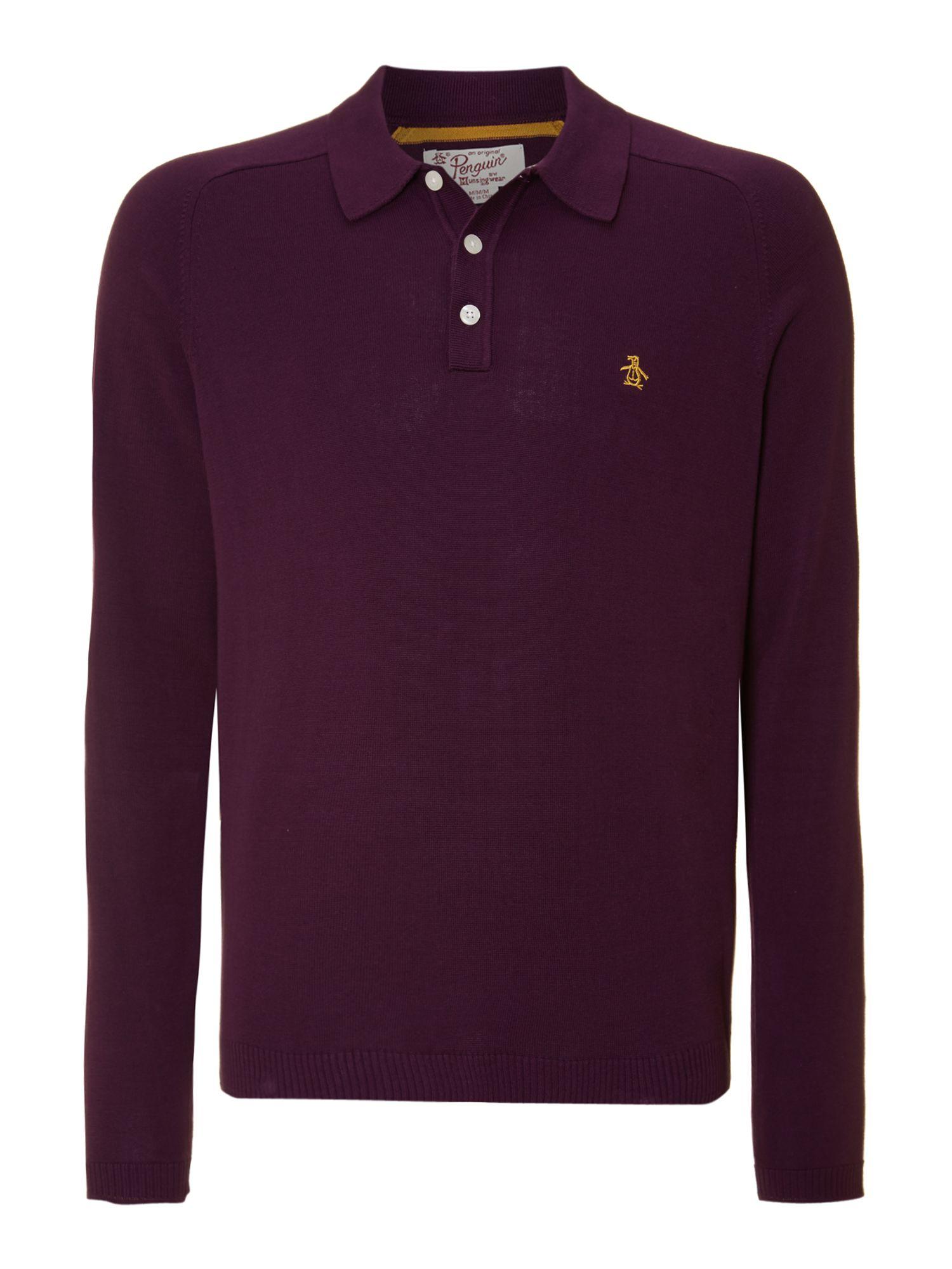 Original penguin Long Sleeve Polo Shirt in Purple for Men | Lyst