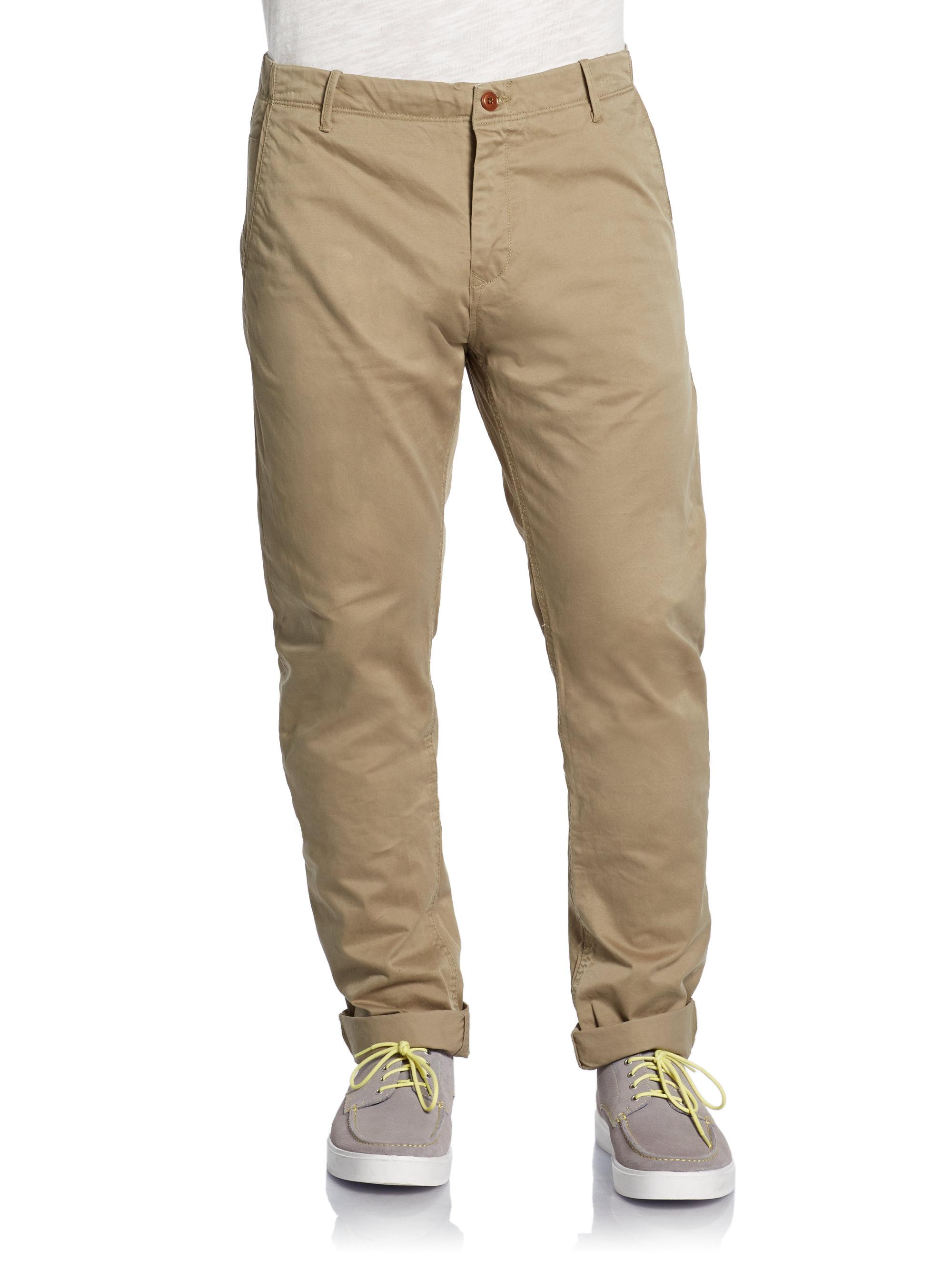 Scotch Amp Soda Cuffed Chino Pants In Khaki For Men Lyst
