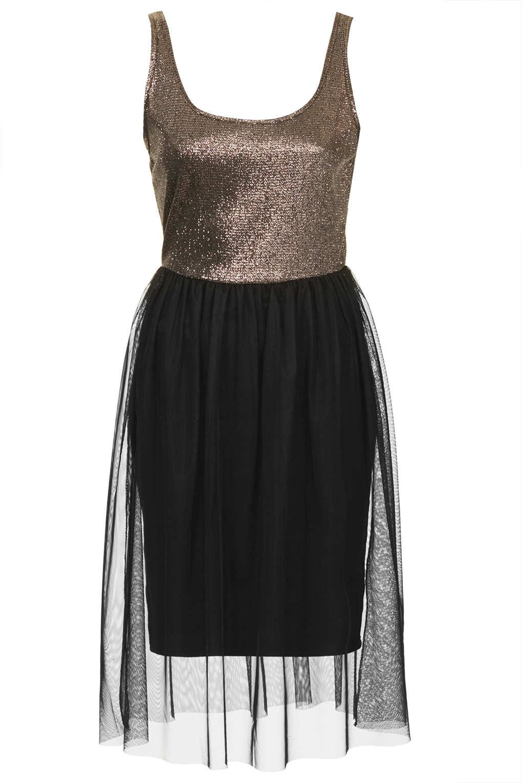 topshop vest lurex tulle midi dress in black gold lyst. Black Bedroom Furniture Sets. Home Design Ideas