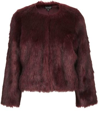 Topshop Soft Faux Fur Cropped Jacket - Lyst