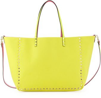 Valentino Rockstud Medium Reversible Canvas Tote Bag Pinkyellow - Lyst