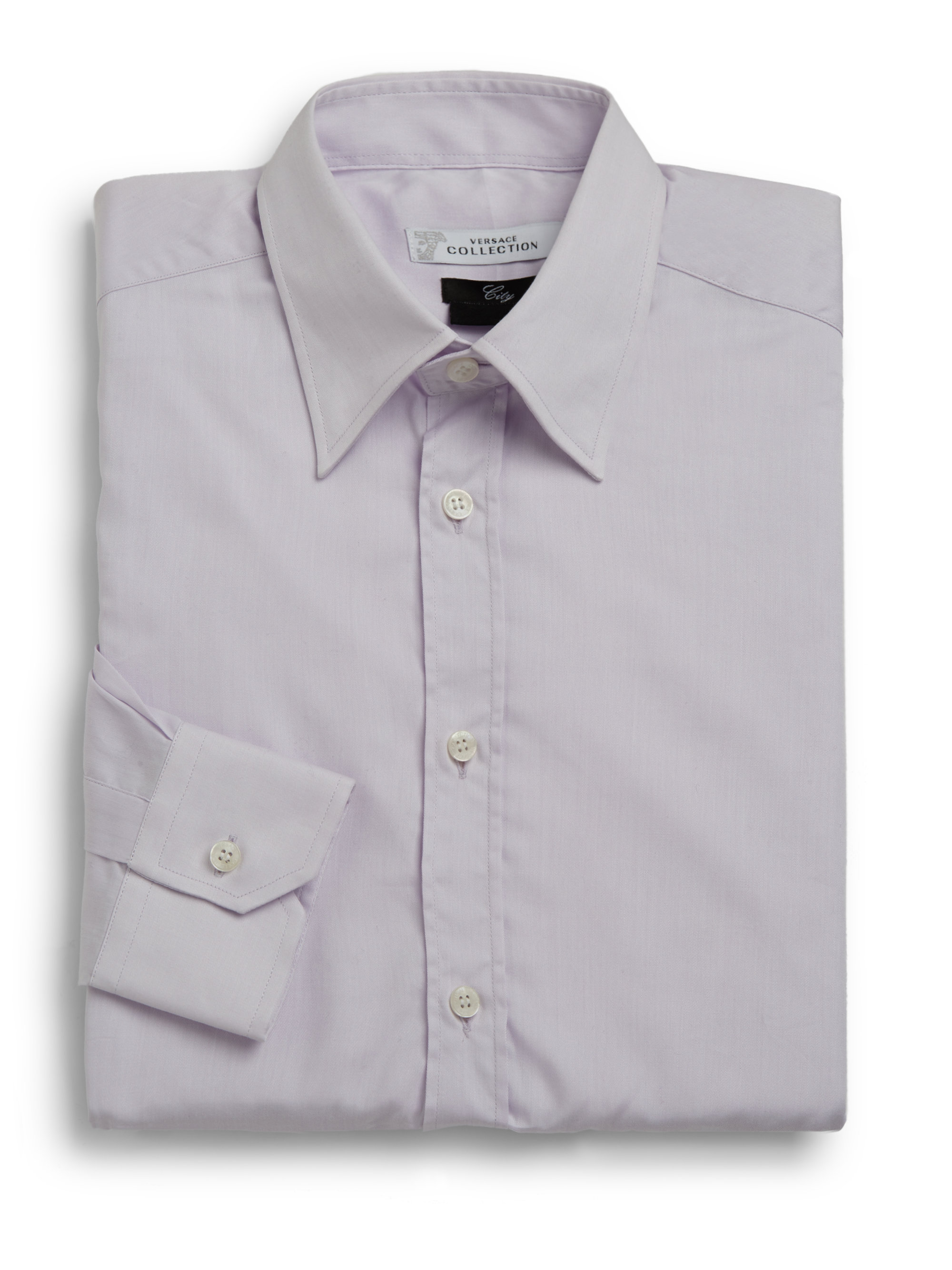 Versace woven cotton dress shirt in purple for men light Light purple dress shirt men