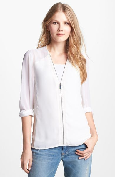 Zip Front Long Sleeve Blouse 2