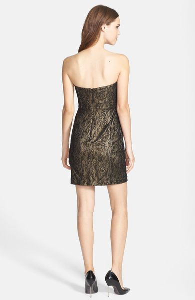Aidan Mattox Strapless Lace Dress In Black Lyst