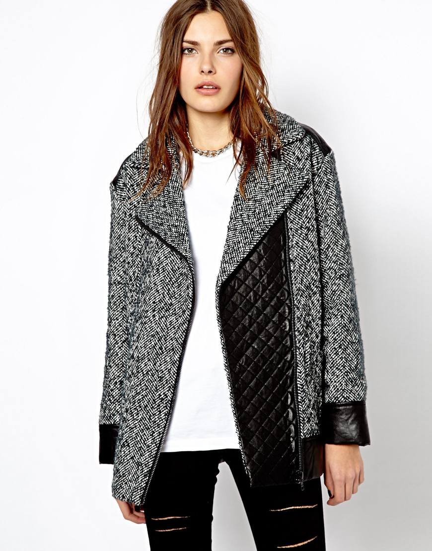 Lyst - Asos Mango Tweed Oversized Biker Jacket in Gray d534da2089a1