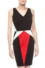 Erin Fetherston Julie Colorblock Vneck Dress Blackmulticolor - Lyst