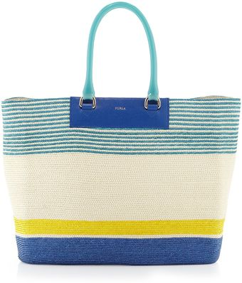 Furla Brigitte L Striped Straw Shopper Turquoise - Lyst