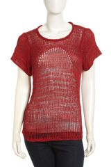 Helmut Lang Marled Mixedknit Sweater Red - Lyst