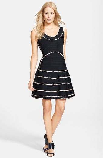 Hervé Léger Contrast Ribbon Flare Skirt Dress - Lyst