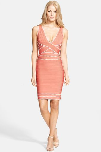 Hervé Léger Contrast Ribbon V Neck Dress - Lyst
