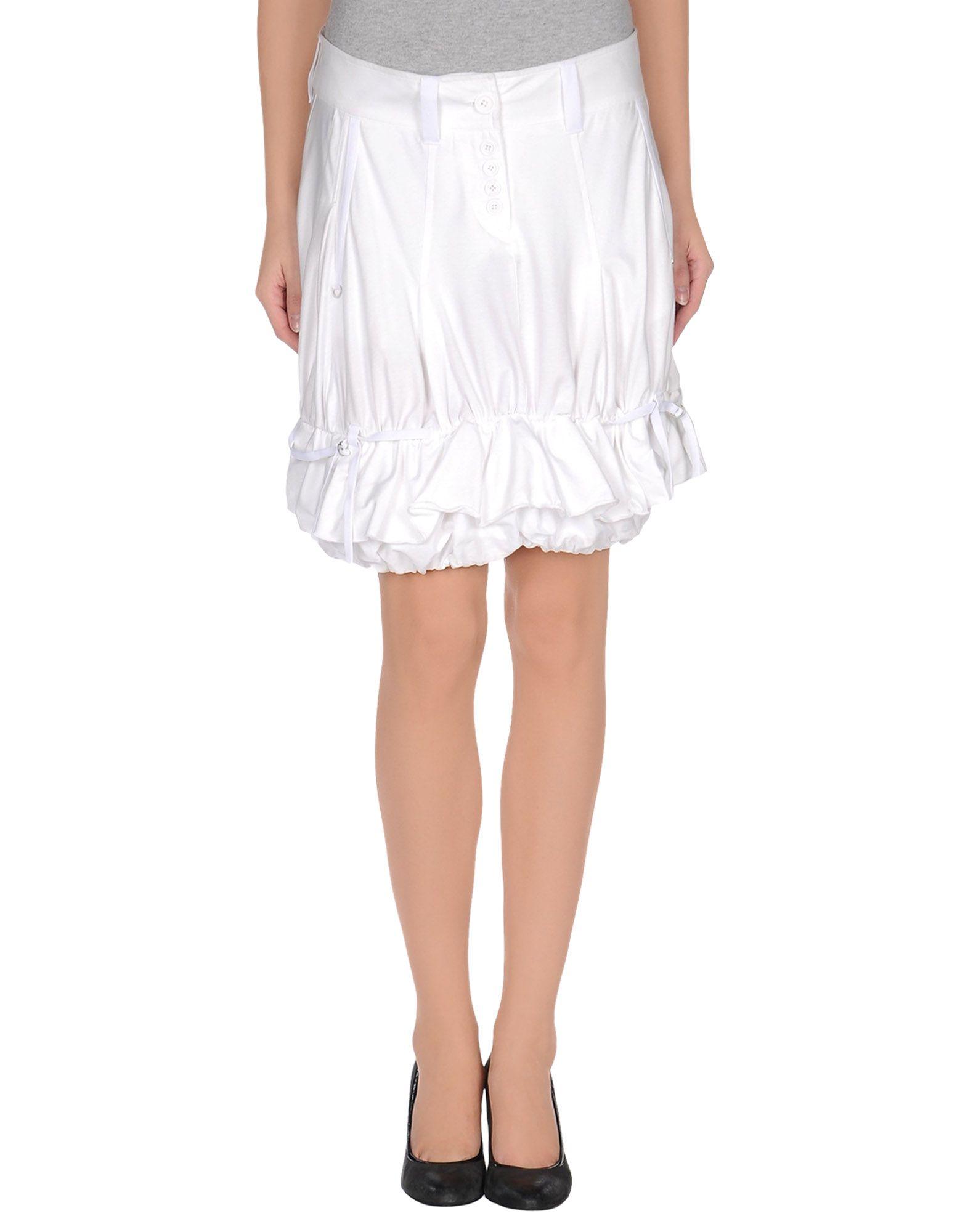 high knee length skirt in white lyst
