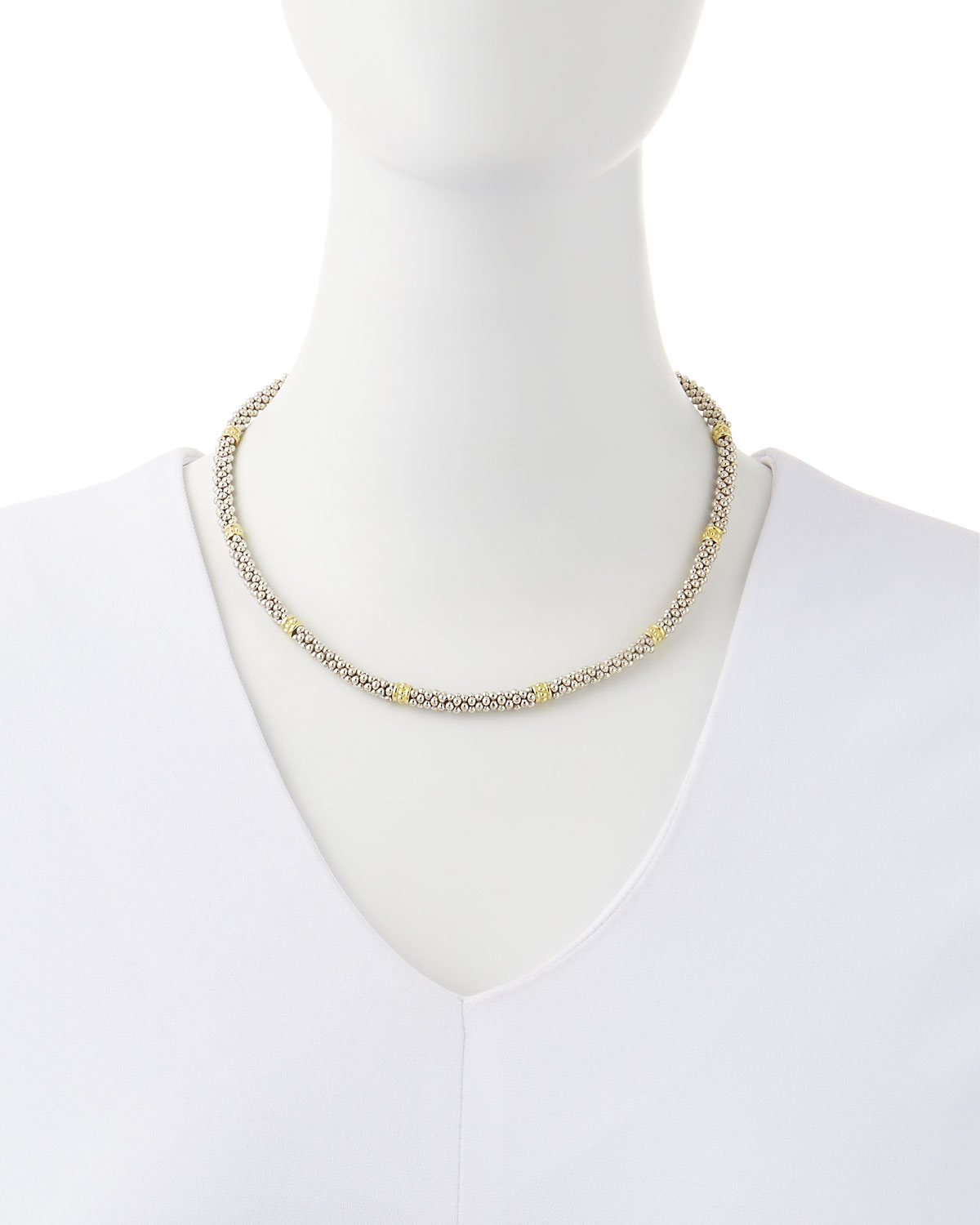 Lyst lagos signature caviar necklace in metallic gallery mozeypictures Images