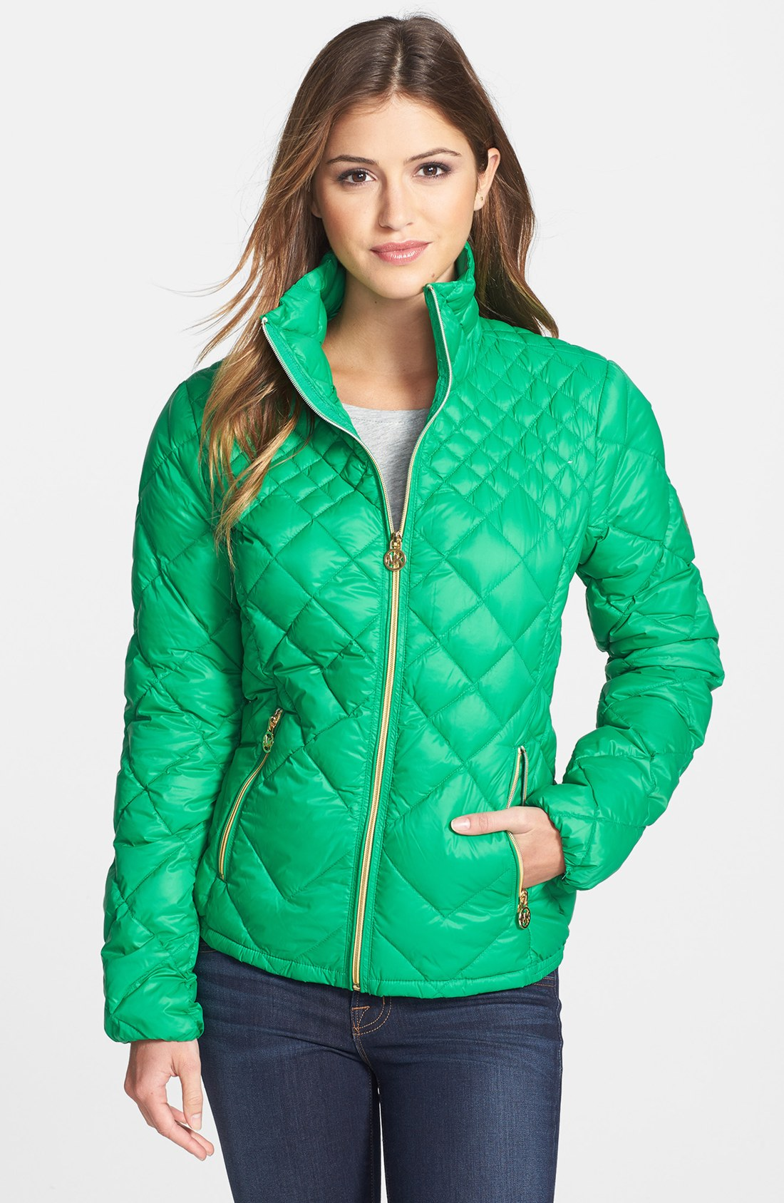 lyst michael michael kors diamond quilted down jacket in green. Black Bedroom Furniture Sets. Home Design Ideas