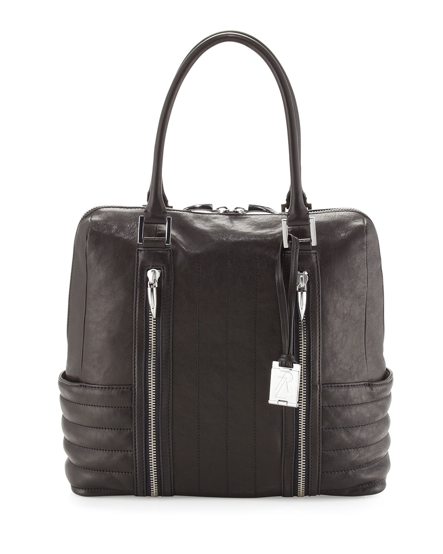 Rachel Zoe Montana Leather Zipper Tote Bag Black In Black