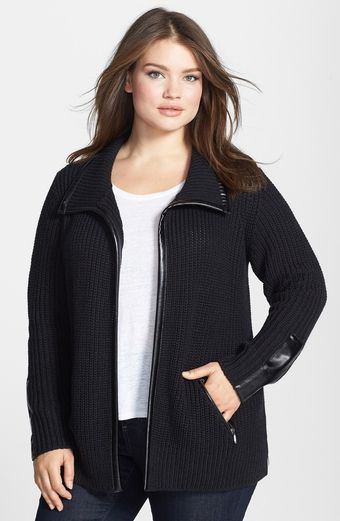Sejour Faux Leather Trim Front Zip Knit Jacket - Lyst