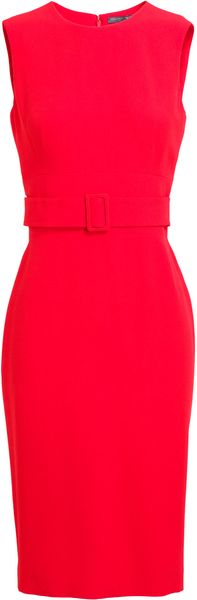 Alexander McQueen Belted Crepe Pencil Dress - Lyst