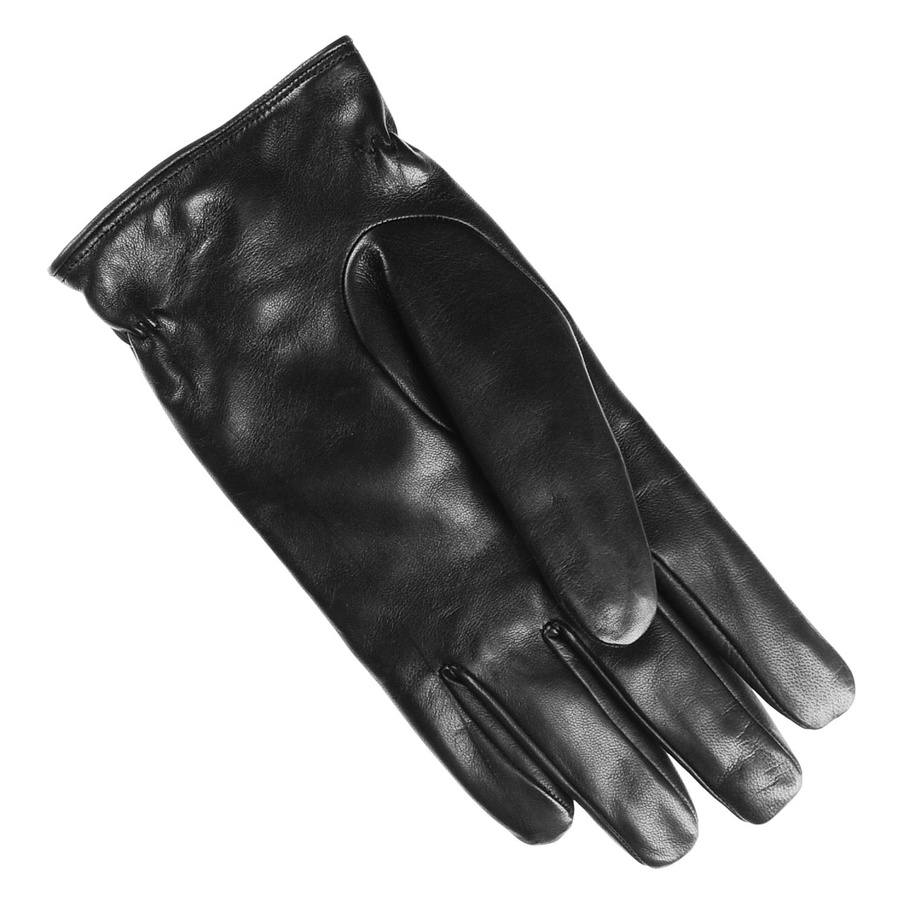 Black leather quilted gloves with cashmere lining - Gallery