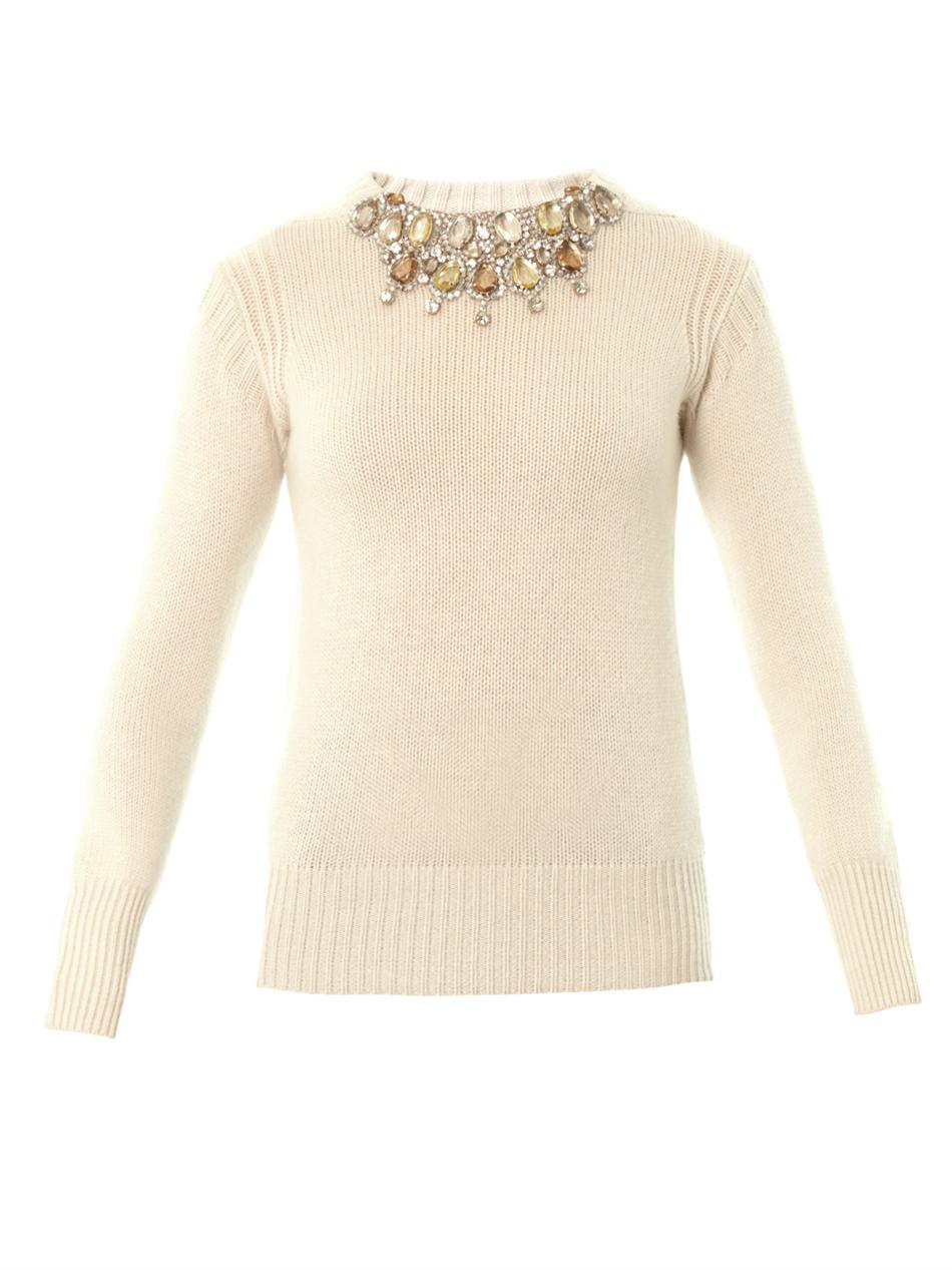 Burberry prorsum Embellished Cashmere Sweater in Natural | Lyst