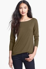 Eileen Fisher Bateau Neck Slim Jersey Top - Lyst