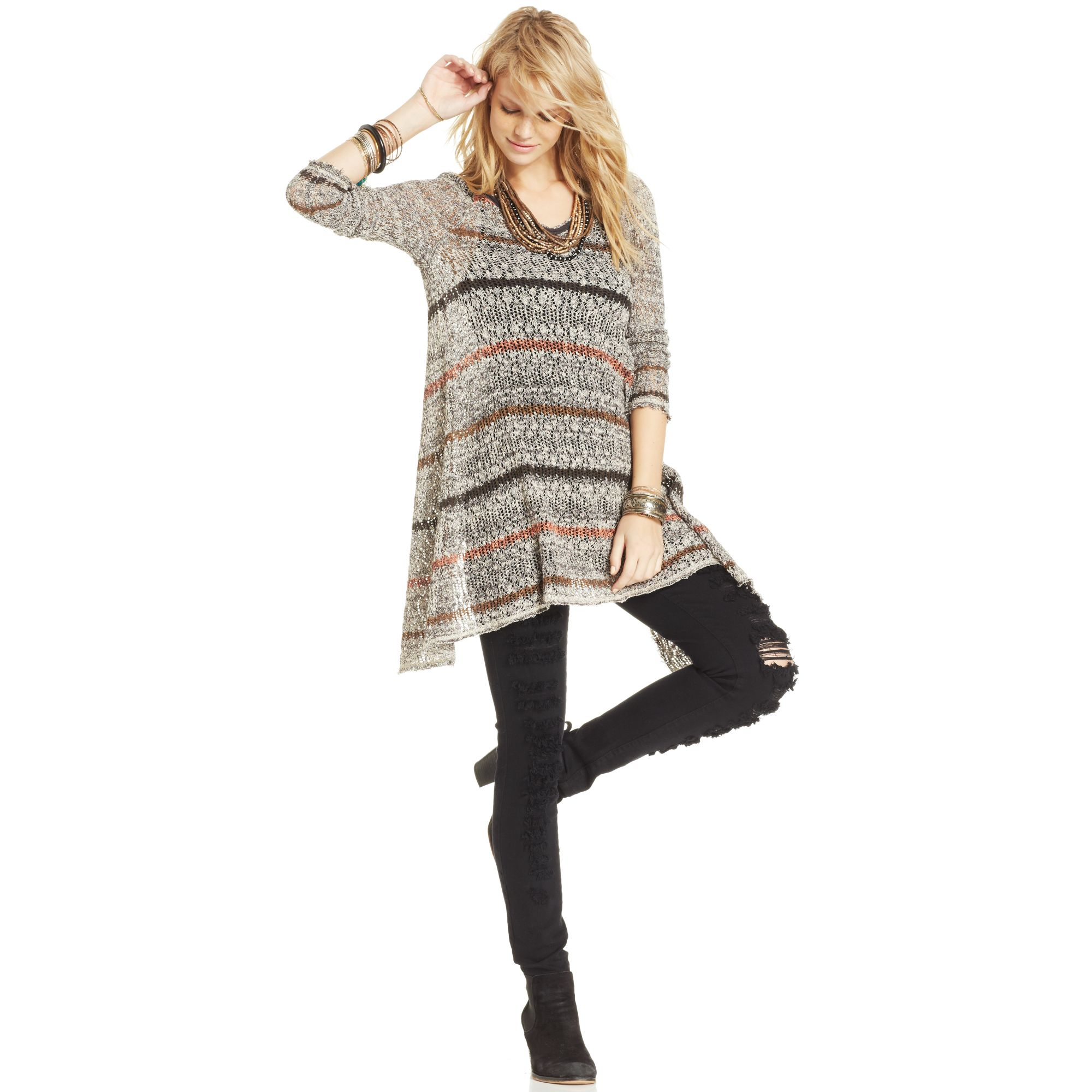 Free people Long Sleeve Open Knit Striped Sweater Tunic in Gray | Lyst