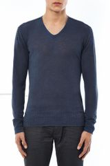 John Varvatos Vneck Linensilk Sweater - Lyst