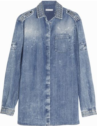 Pierre Balmain Camicia Studded Denim Shirt - Lyst