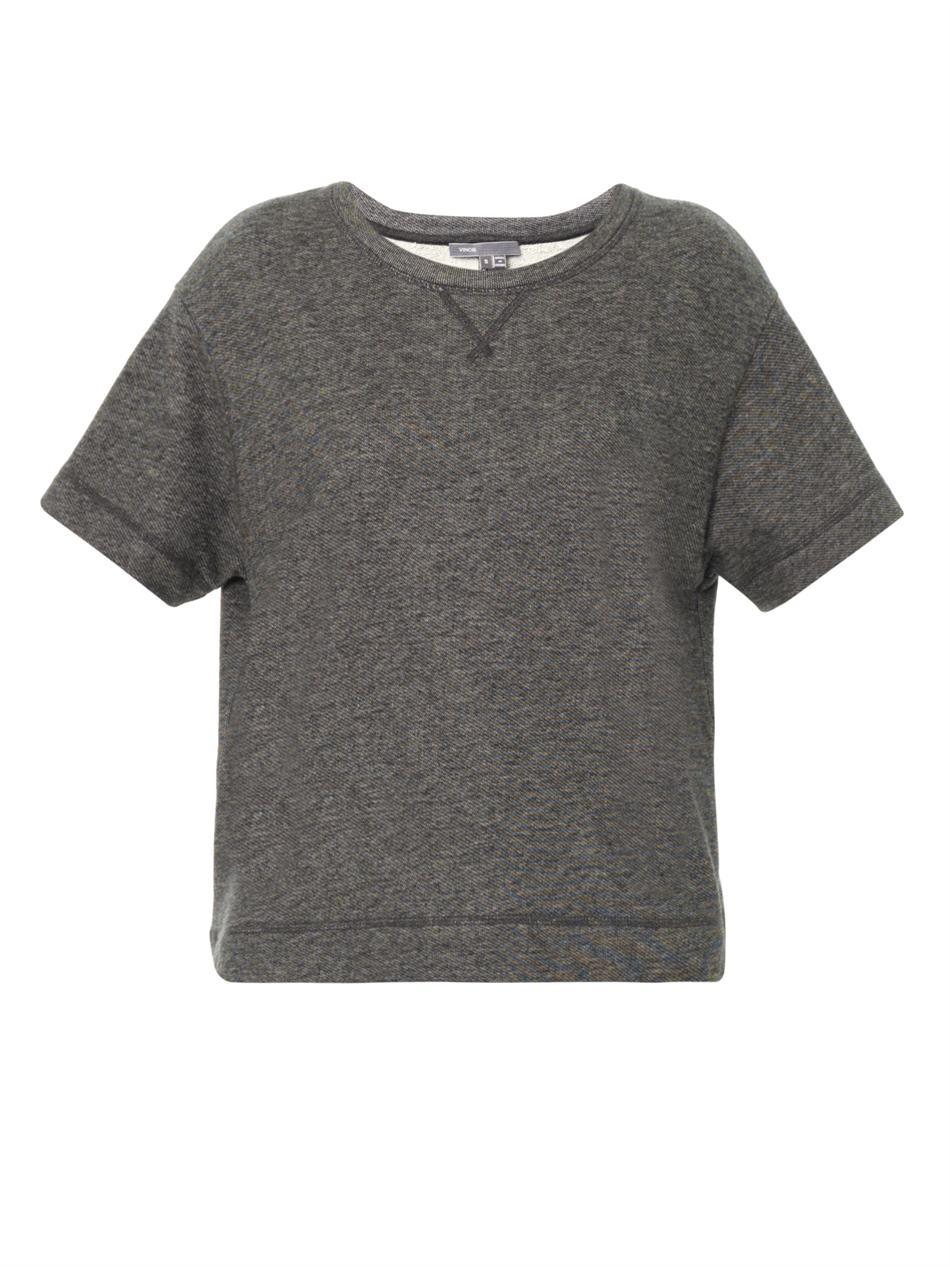 Vince Short Sleeve Sweatshirt in Gray | Lyst