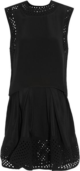 3.1 Phillip Lim Laser-cut Crepe-trimmed Silk Mini Dress - Lyst