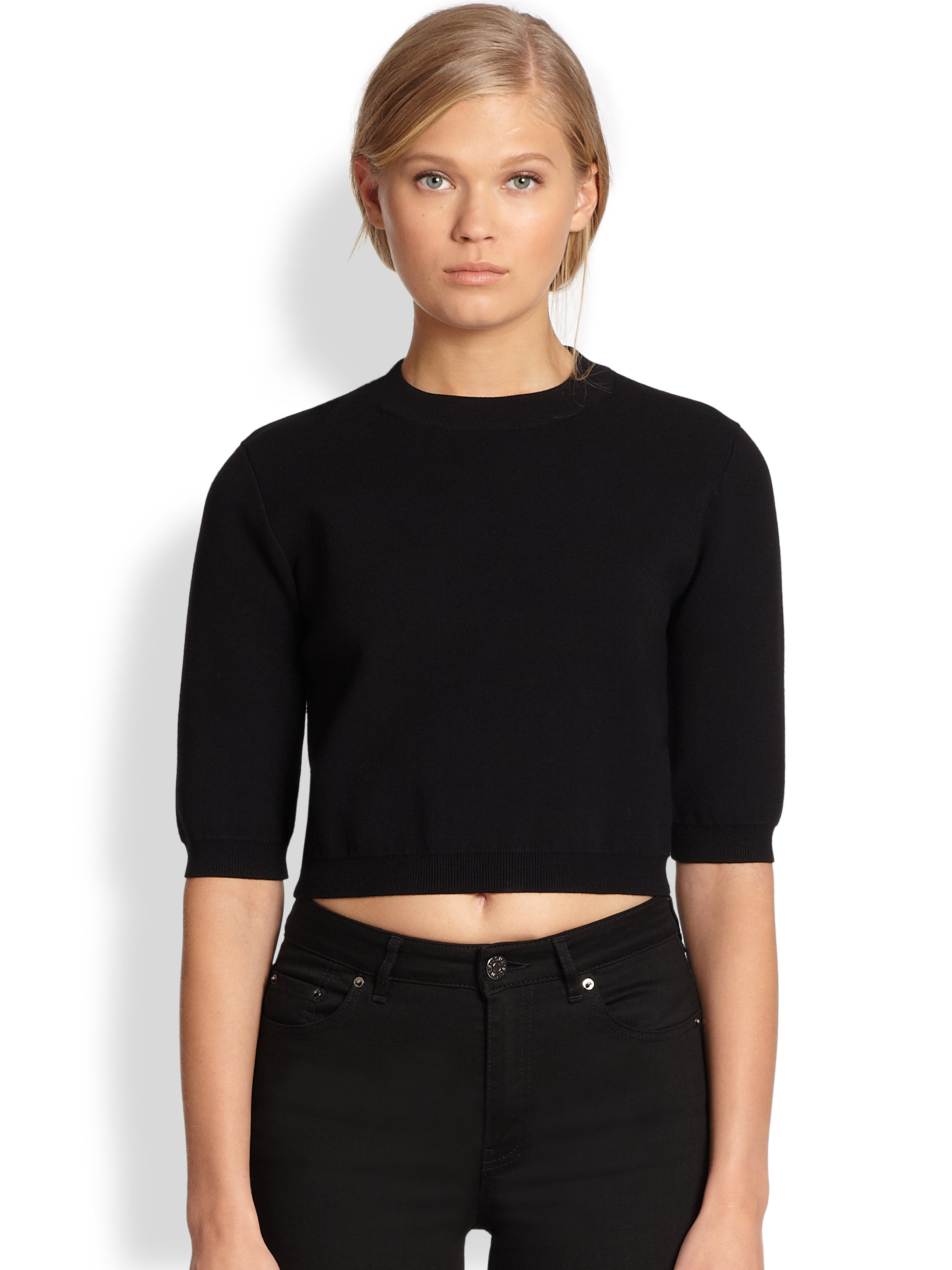 Acne studios Aurora Cropped Sweater in Black | Lyst
