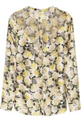 Adam Lippes Georgette panelled Floralprint Silk Blouse - Lyst