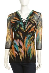 Alberto Makali Feather-print Plisse Tunic - Lyst