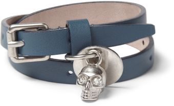 Alexander McQueen Metal Skull and Leather Bracelet - Lyst
